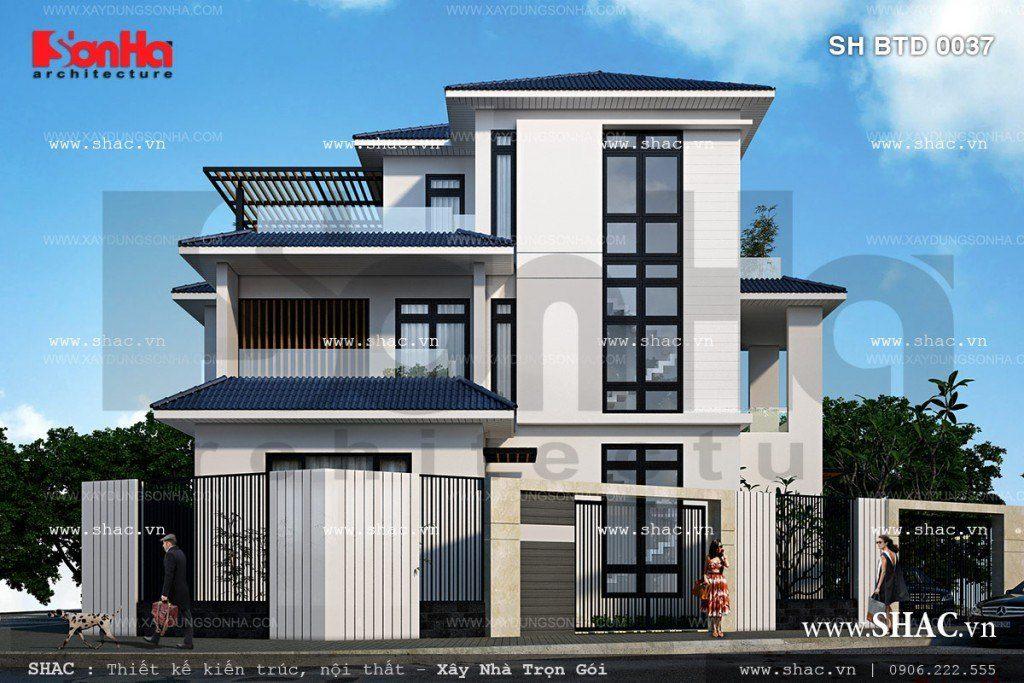 Mẫu thiết kế biệt thự 3 tầng hiện đại diện tích 150m2 tại TP.Hạ Long, Quảng Ninh có mặt tiền đẹp và khoáng đạt được gia chủ rất yêu thích
