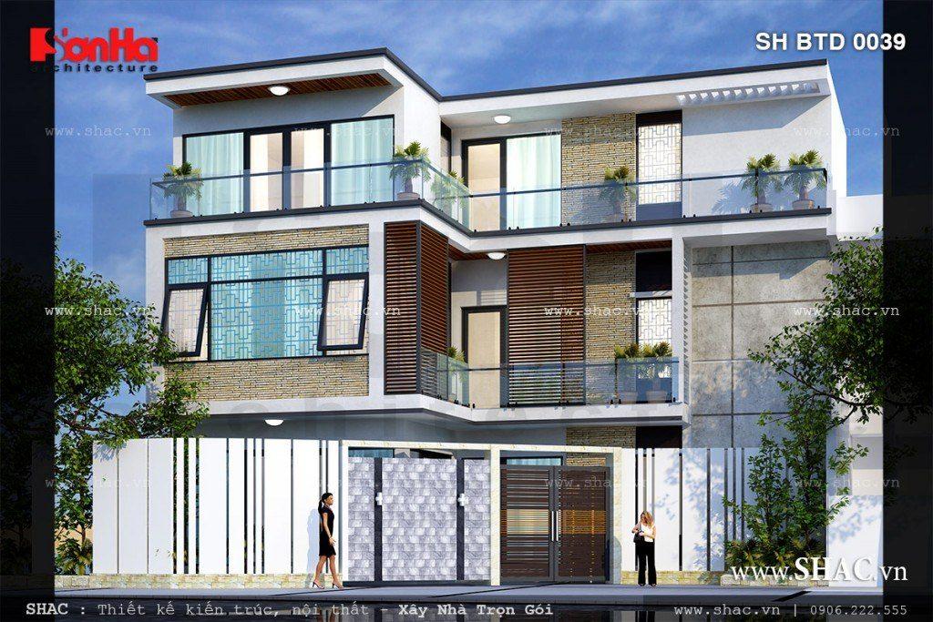 Mẫu thiết kế biệt thự 3 tầng đẹp phong cách hiện đại tiện nghi trên nền đất chéo tại quận Ngô Quyền, Hải Phòng