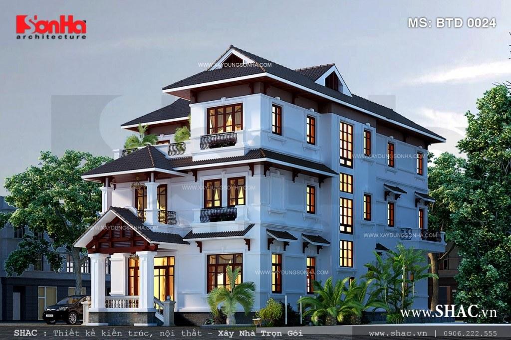biệt thự 3 tầng được thiết kế theo kiểu hiện đại