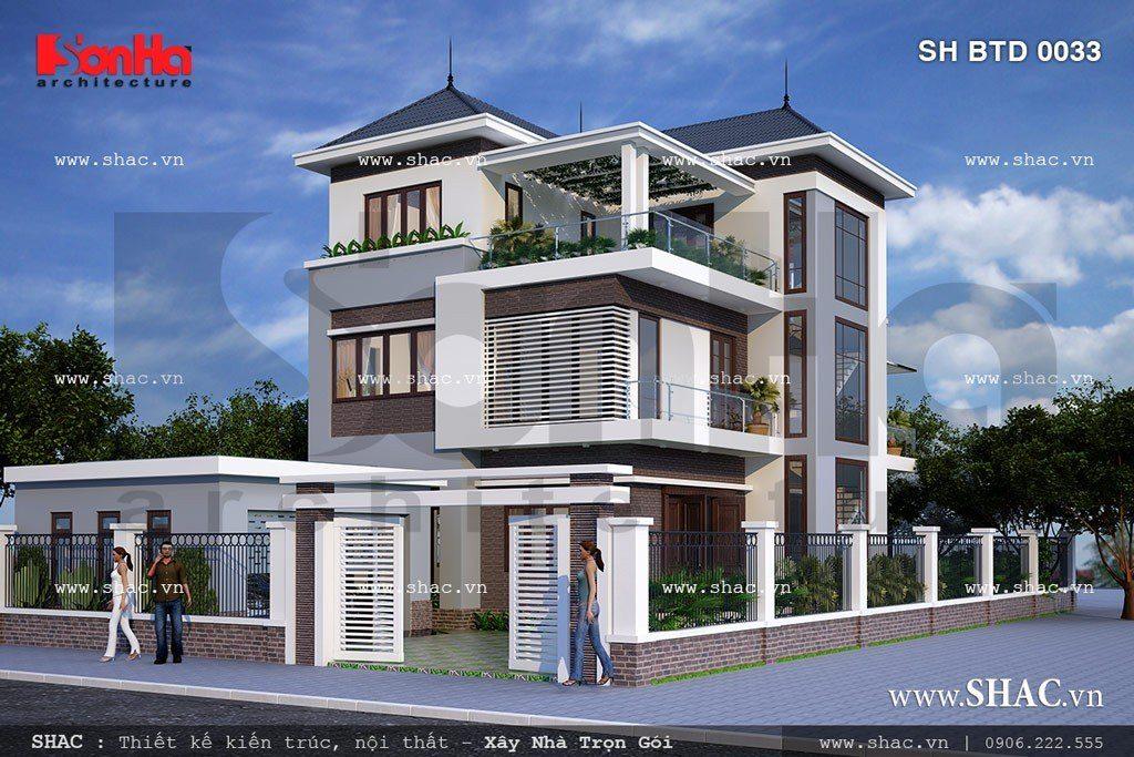 Mẫu thiết kế biệt thự hiện đại 3 tầng tại quận Hải An, Hải Phòng với đường nét kiến trúc sang trọng và tinh tế
