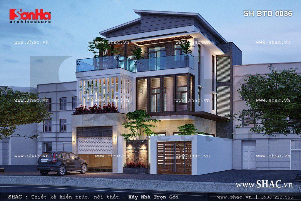 Kiến trúc mặt tiền của mẫu thiết kế biệt thự 3 tầng hiện đại và trẻ trung tại quận Hồng Bàng, Hải Phòng rất được chủ đầu tư đánh giá cao