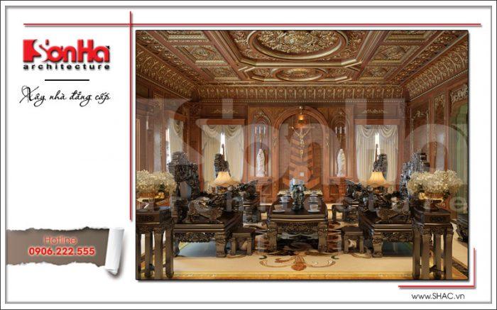 Thiết kế nội thất gỗ phòng khách cổ điển biệt thự 6 tầng tại Thái Bình BTP 0080