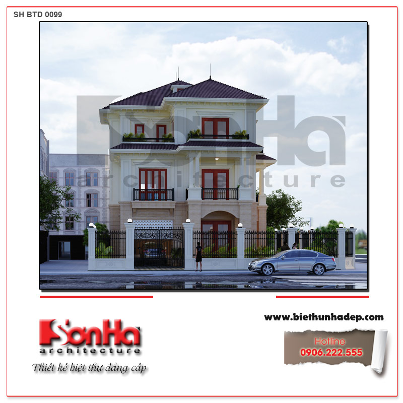 Biệt thự tân cổ điển 3 tầng tại Quảng Bình được đầu tư thiết kế kiến trúc mặt tiền sang trọng