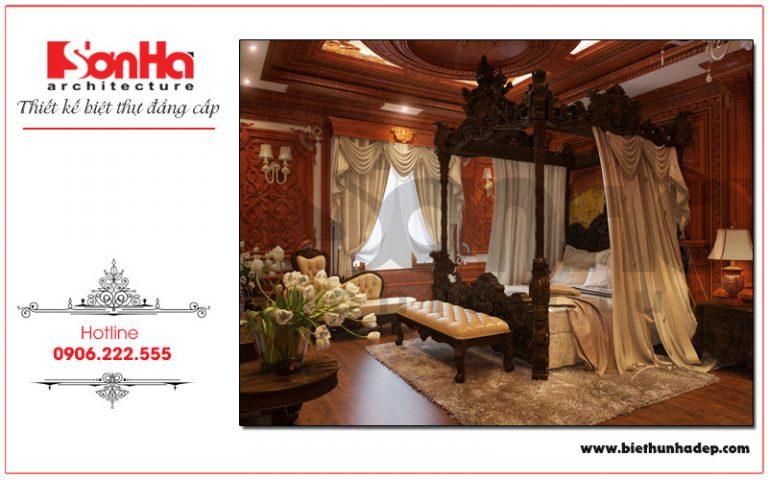 Mãn nhãn với mẫu thiết kế phòng ngủ theo phong cách hoàng cung của ngôi biệt thự kiến trúc cổ điển này