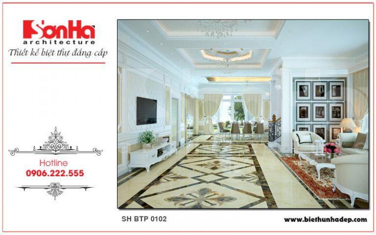 Không gian phòng khách biệt thự với thiết kế nội thất cổ điển gam màu trắng chủ đạo trang nhã và lịch thiệp