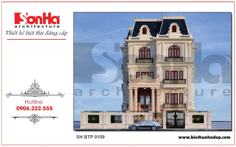 Phương án thiết kế mặt tiền biệt thự Pháp cổ điển hoàn toàn chinh phục chủ đầu tư
