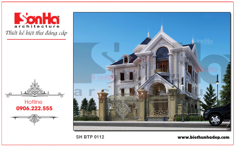 Tham khảo phương án thiết kế biệt thự cổ điển 3 tầng sang trọng ấn tượng với mái ngói xanh tại Hà Nội