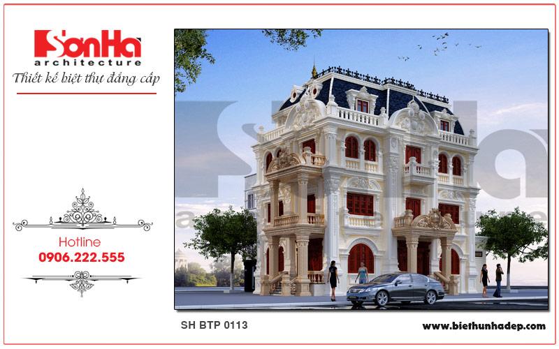 Mãn nhãn với kiến trúc mặt tiền biệt thự Pháp 4 tầng có kiến trúc cổ điển xa hoa đẳng cấp tại Quảng Ninh