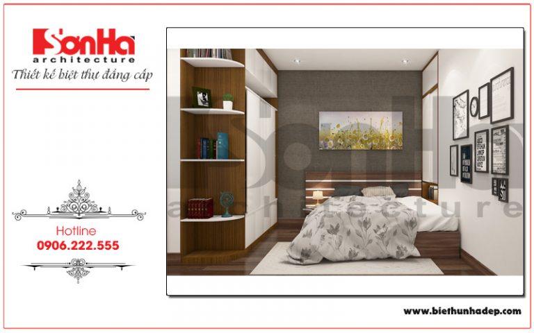 Không gian phòng ngủ được sắp xếp khoa học, đày đủ tiện nghi trong một diện tích nhỏ