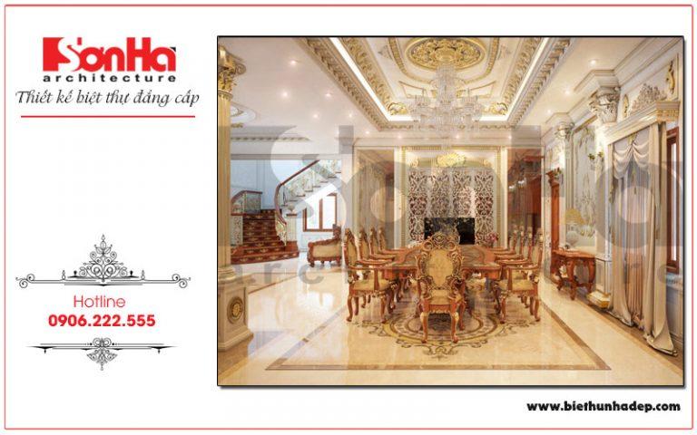 Trong không gian rộng, bộ bàn ghế ăn có thiết kế nội thất Châu Âu đẳng cấp được bày trí ấn tượng mang đến những bữa cơm ấm cúng cho gia chủ