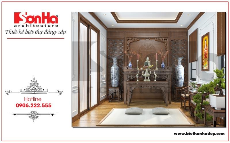 Mẫu nội thất phòng thờ trang nghiêm biệt thự Vinhomes Imperia Hải Phòng
