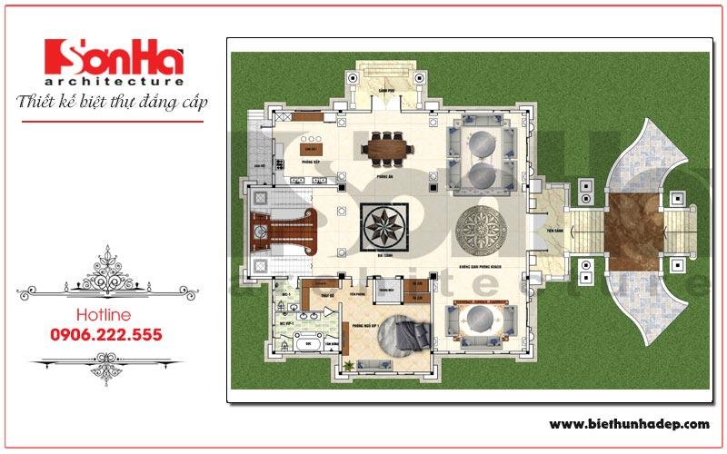 Chi tiết mặt bằng công năng tầng trệt biệt thự lâu đài cổ điển ân tượng tượng Sài Gòn