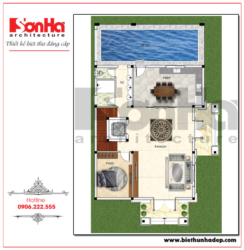 Bản vẽ quy hoạch công năng tầng 1 biệt thự pháp 3 tầng có hồ bơi tại Hải Phòng