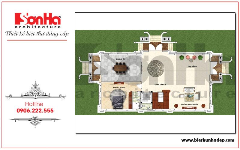 Bản vẽ chi tiết mặt bằng công năng tầng 1 biệt thự pháp có sân vườn đẹp tại Hưng Yên