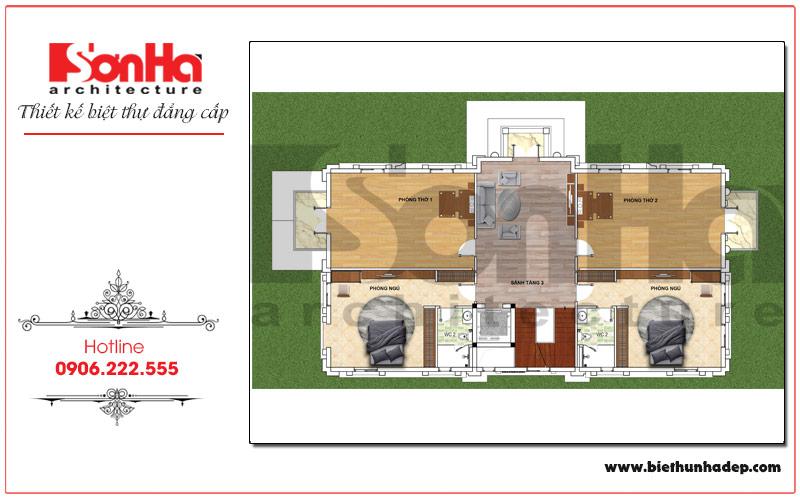 Bản vẽ chi tiết mặt bằng công năng tầng 3 biệt thự pháp 2 mặt tiền ấn tượng tại Hưng Yên