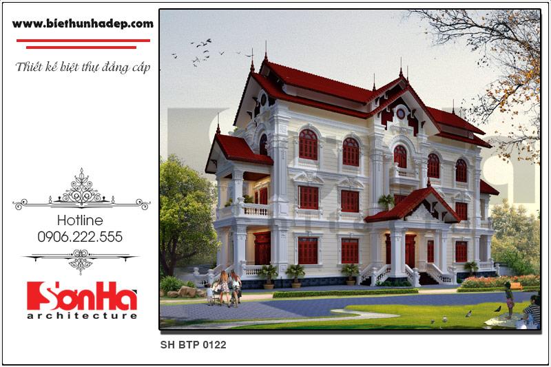 BÌA kiến trúc biệt thự pháp 2 mặt tiền đẹp tại hưng yên sh btp 0122