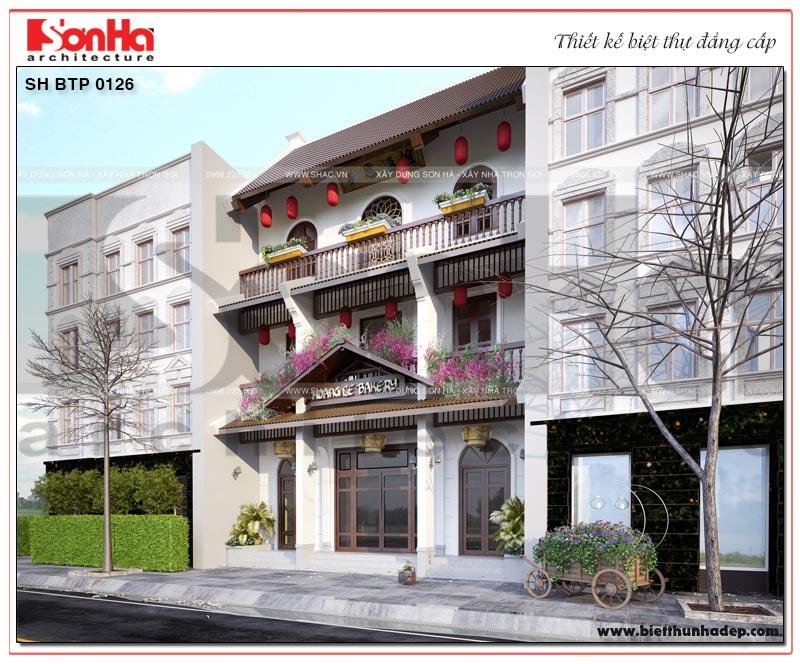 Mẫu thiết kế biệt thự kiểu pháp 3 tầng phong cách Việt kết hợp kinh doanh tại Quảng Ninh