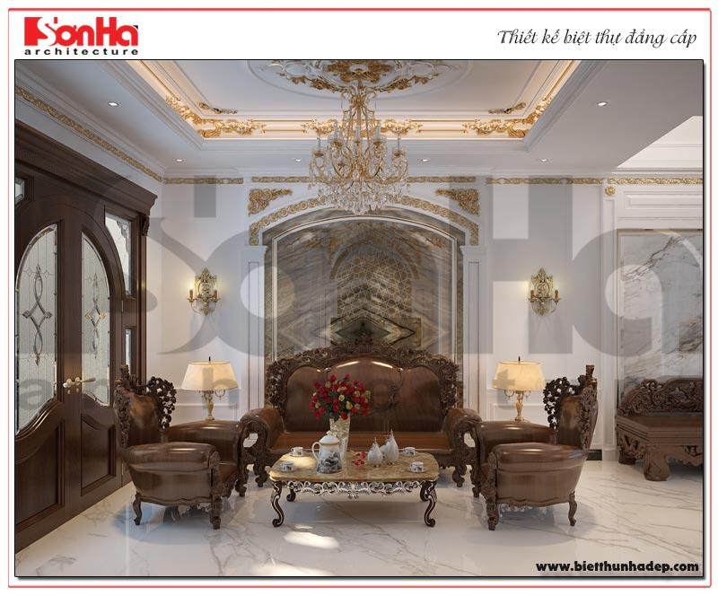 Không gian phòng khách biệt thự tân cổ điển trang trọng, ấm cúng và lịch thiệp