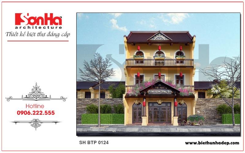 Phương án thiết kế kiến trúc biệt thự pháp 3 tầng với hệ mái ngói đỏ sẫm ấn tượng