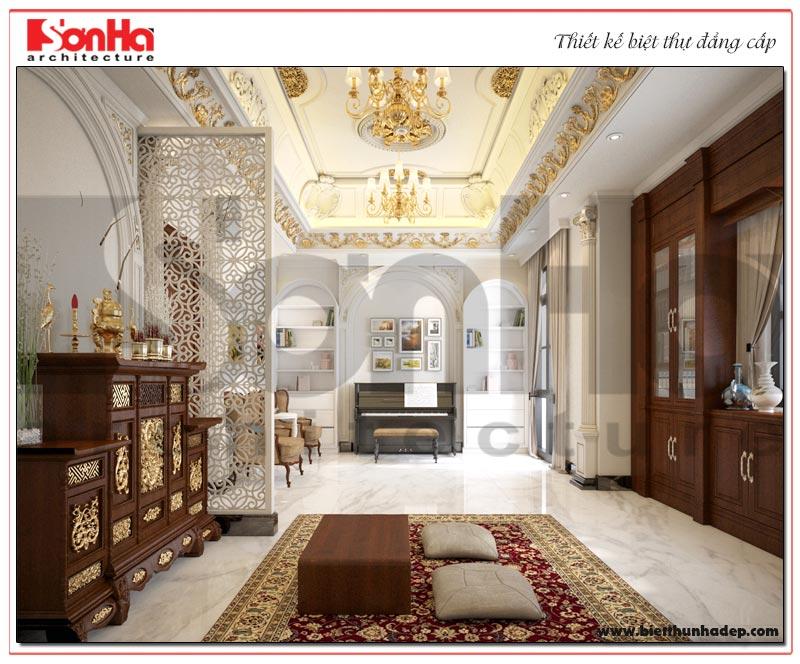 Thiết kế nội thất phòng thờ trong không gian biệt thự tân cổ điển