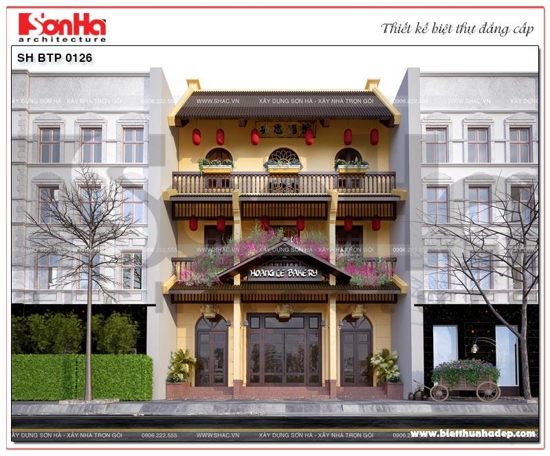 Kiến trúc mặt tiền đậm chất văn hóa Việt của mẫu biệt thự 3 tầng tại Quảng Ninh
