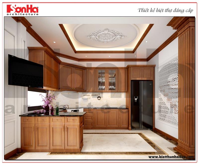 Ý tưởng trang trí không gian phòng bếp ăn phong cách tân cổ điển nhẹ nhàng được chủ đầu tư đánh giá cao