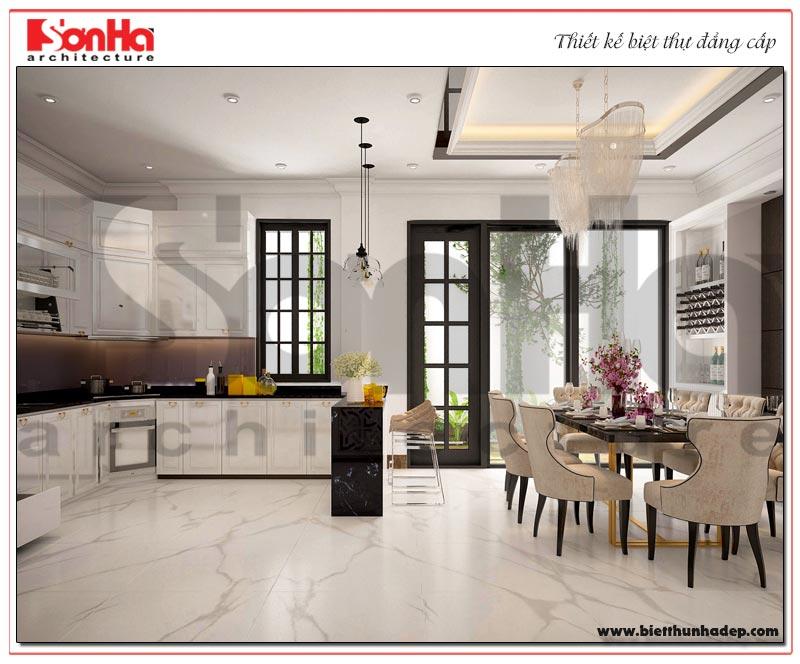 Mẫu thiết kế nội thất phòng bếp ăn biệt thự thoáng đãng và sạch sẽ