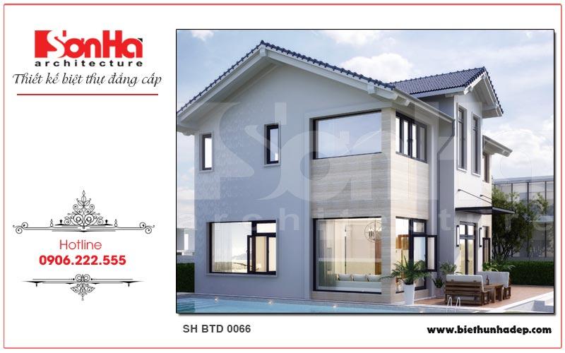 Ngôi biệt thự mái thái 2 tầng được thiết kế thoáng đãng mang đậm chất hiện đại khỏe khoắn