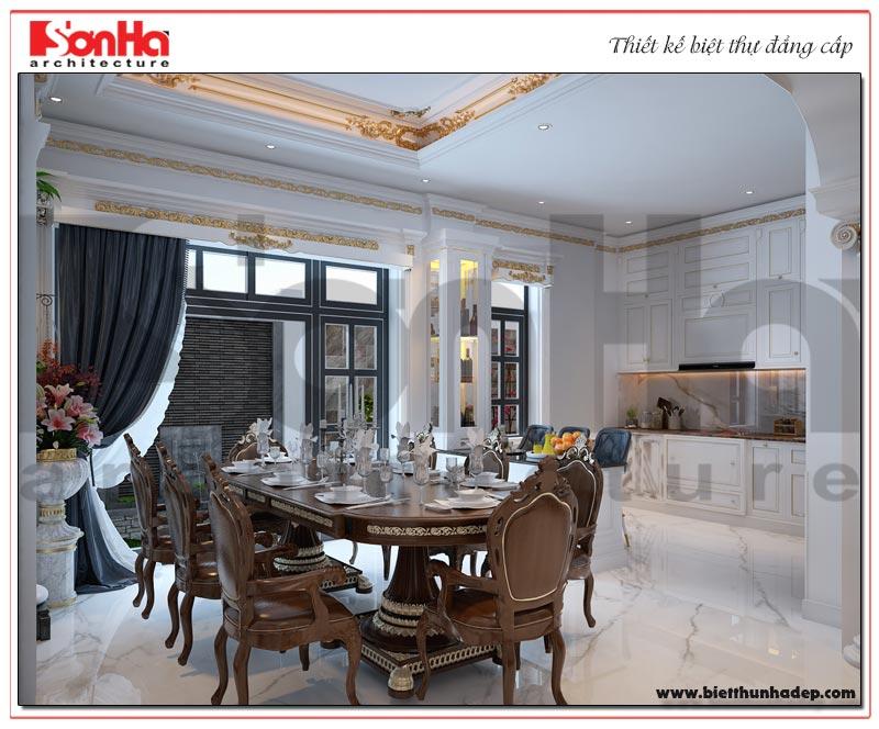 Thiết kế nội thất phòng bếp ăn biệt thự tiện nghi dành cho biệt thự Vinhomes Imperia