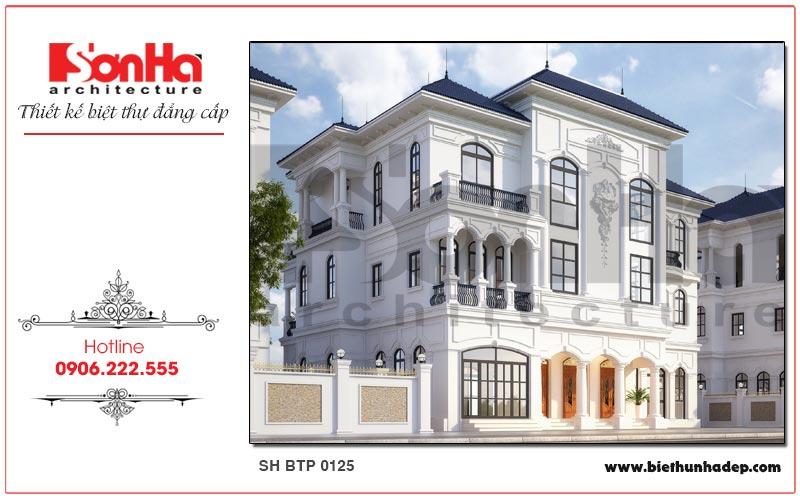 Kiến trúc ngoại thất sang trọng và tinh tế của ngôi biệt thự song lập 3 tầng thu hút mọi ánh nhìn