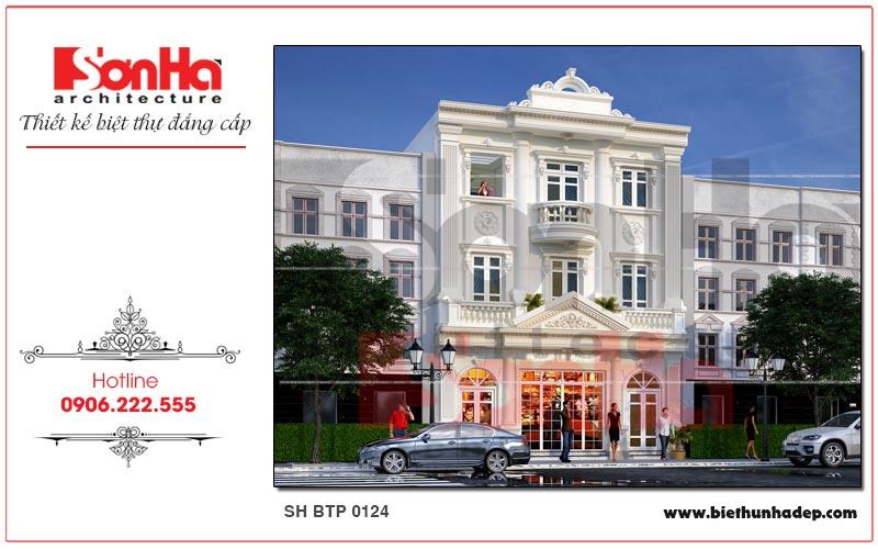 Mẫu thiết kế biệt thự pháp kết hợp kinh doanh 3 tầng diện tích 162m2 tại Quảng Ninh