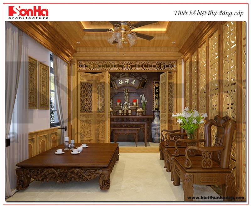 Phương án thiết kế nội thất phòng thờ tôn nghiêm theo đúng nguyện vọng của gia chủ