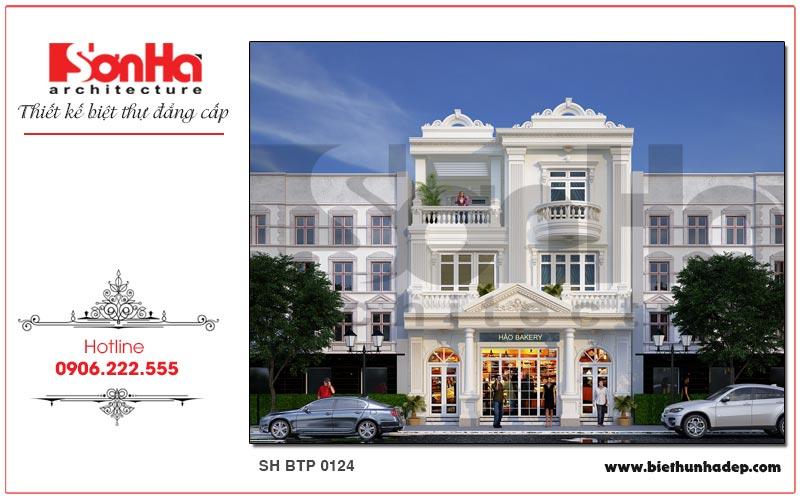 Mẫu biệt thự cổ điển kết hợp kinh doanh quy mô xây dựng 3 tầng tại Quảng Ninh