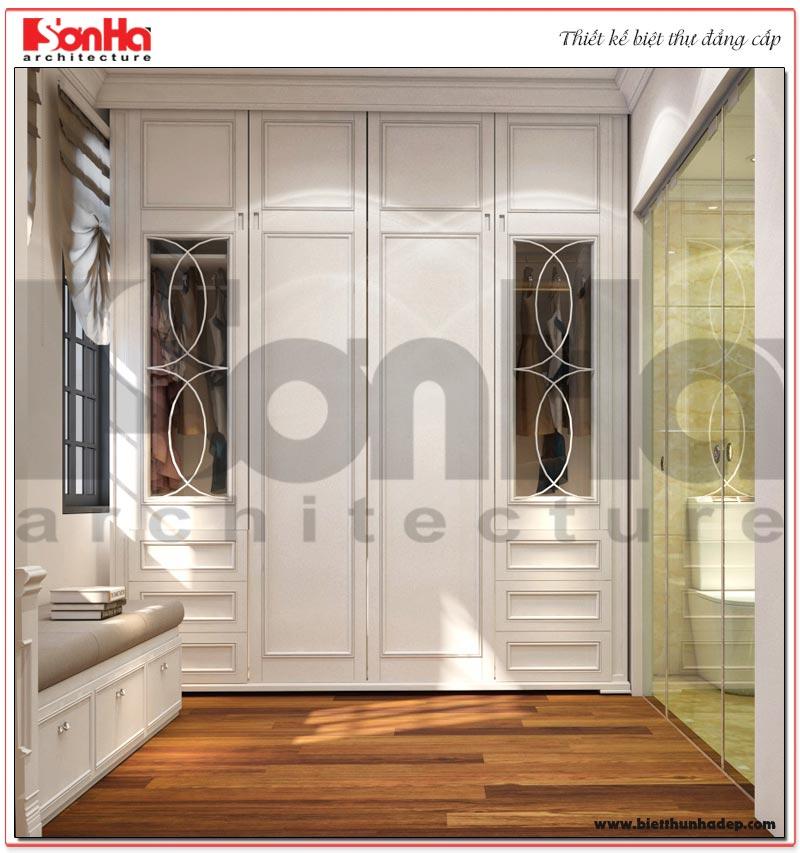 Thiết kế phòng thay đồ với nội thất cao cấp dành cho biệt thự tân cổ điển