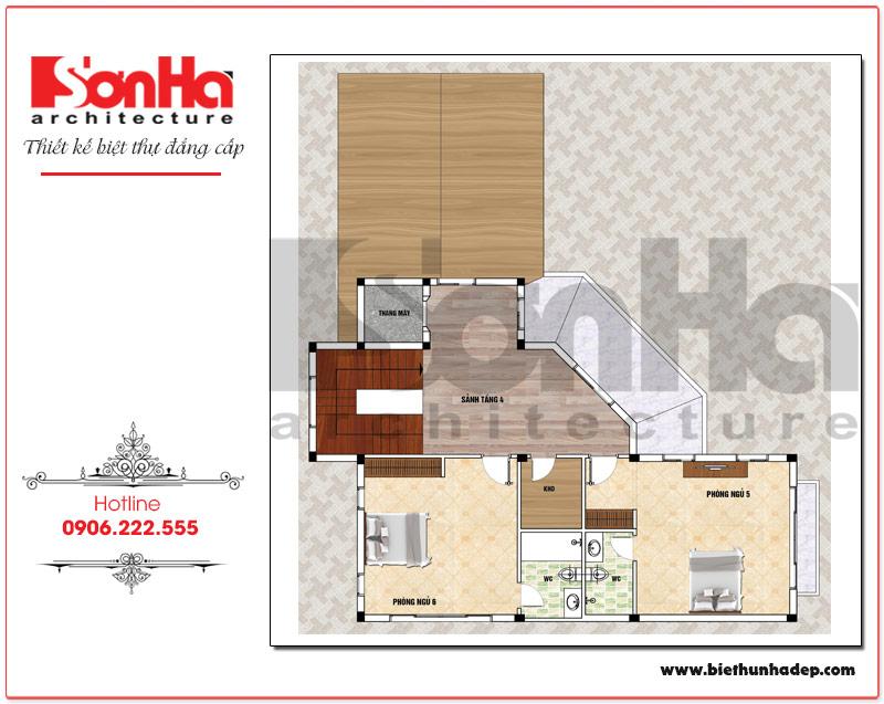 Mặt bằng công năng tầng 4 biệt thự tân cổ điển mái dốc 4 tầng tại Hải Phòng
