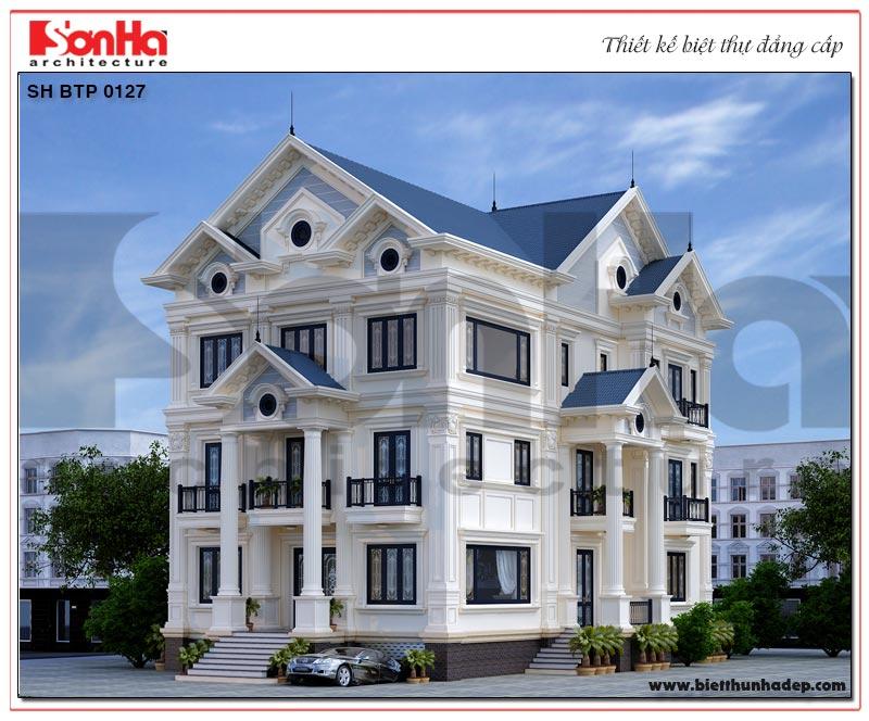 Mẫu thiết kế biệt thự tân cổ điển mái thái 3 tầng có tầng hầm tại Quảng Ninh