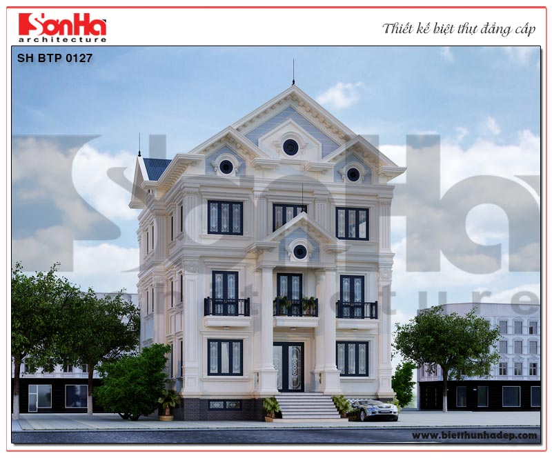 Thiết kế kiến trúc của ngôi biệt thự 3 tầng 2 mặt tiền phong cách tân cổ điển đẹp – đẳng cấp tại TP.Hạ Long – Quảng Ninh