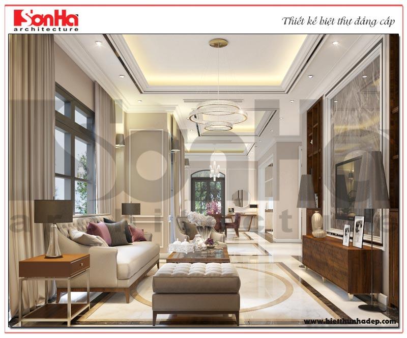 Phương án thiết kế nội thất phòng khách biệt thự tân cổ điển được chủ đầu tư đánh giá cao
