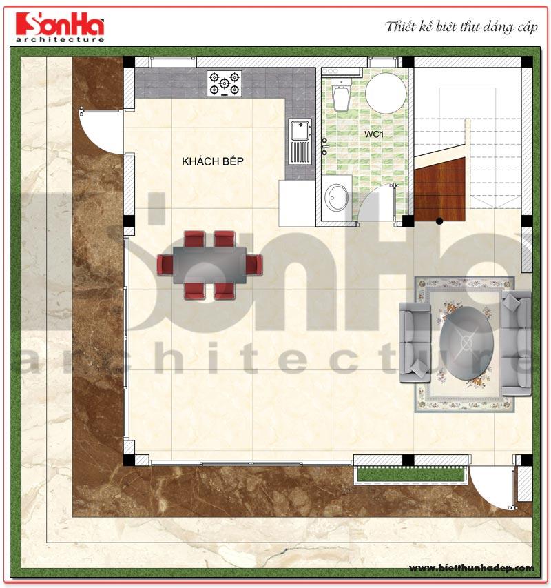 Chi tiết quy hoạch công năng tầng 1 biệt thự hiện đại mini diện tích sàn 64m2 tại Hải Phòng