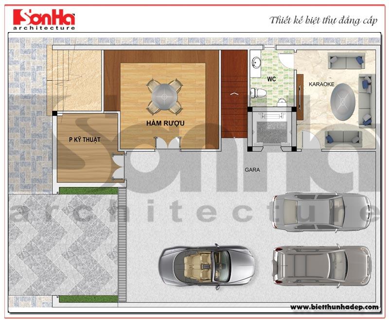 Bản vẽ chi tiết mặt bằng công năng tầng hầm biệt thự hiện đại 5 tầng tại Thái Bình
