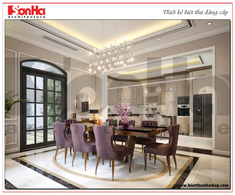 Thiết kế nội thất phòng bếp ăn màu sắc mới lạ cùng nội thất tiện nghi