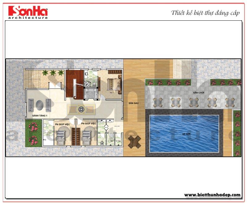 Bản vẽ chi tiết mặt bằng công năng tầng 1 biệt thự hiện đại 5 tầng tại Thái Bình