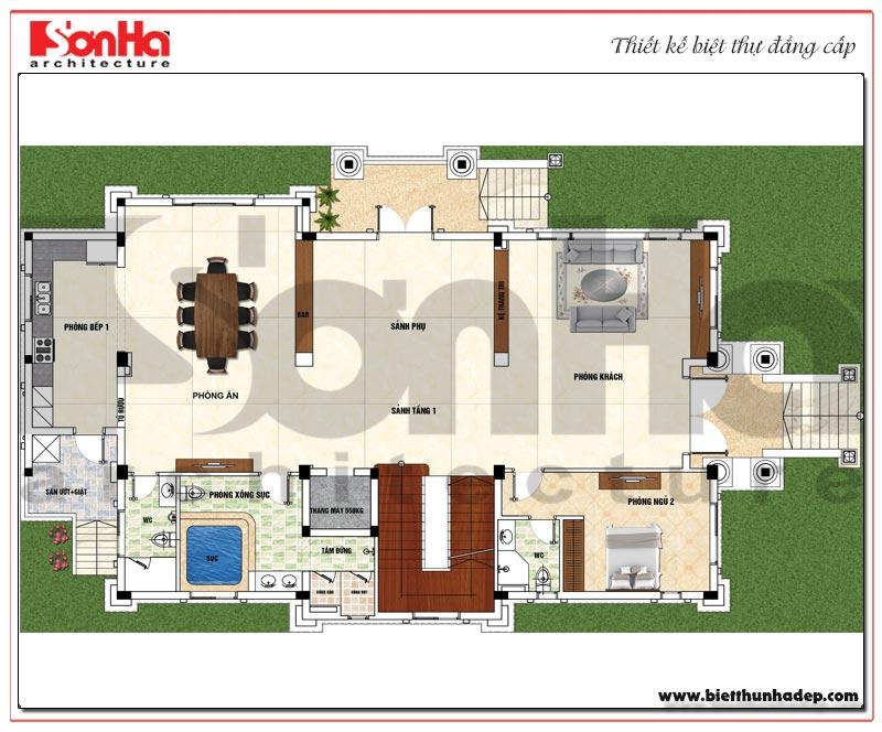 Bản vẽ chi tiết mặt bằng công năng tầng 1 biệt thự tân cổ điển 3 tầng mái thái tại Quảng Ninh