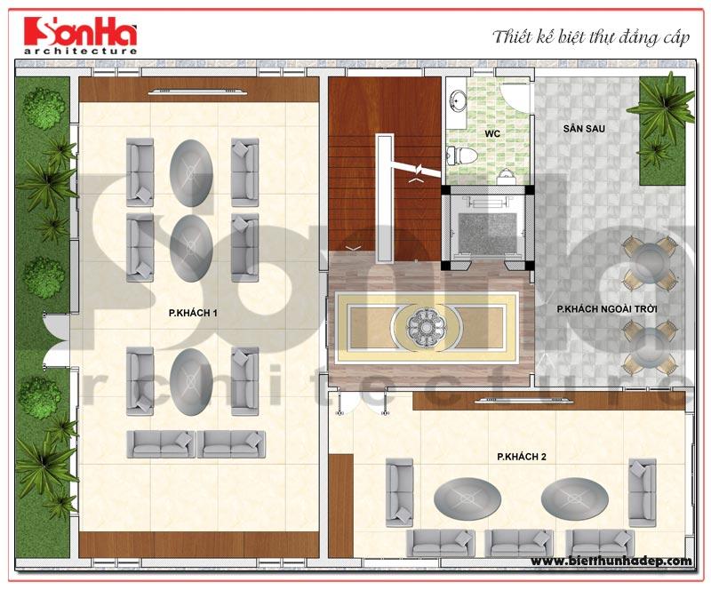 Bản vẽ chi tiết mặt bằng công năng tầng 2 biệt thự hiện đại 5 tầng tại Thái Bình