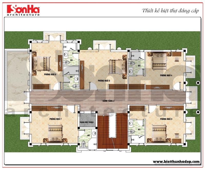 Bản vẽ chi tiết mặt bằng công năng tầng 2 biệt thự tân cổ điển 3 tầng mái thái tại Quảng Ninh