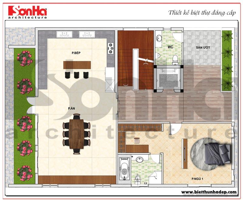 Bản vẽ chi tiết mặt bằng công năng tầng 3 biệt thự hiện đại 5 tầng tại Thái Bình