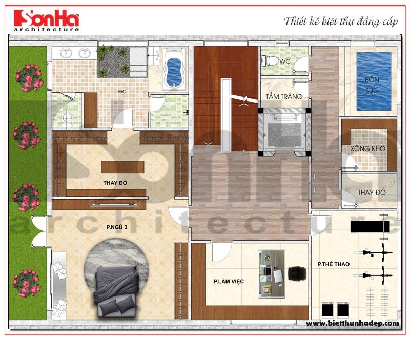 Bản vẽ chi tiết mặt bằng công năng tầng 4 biệt thự hiện đại 5 tầng tại Thái Bình