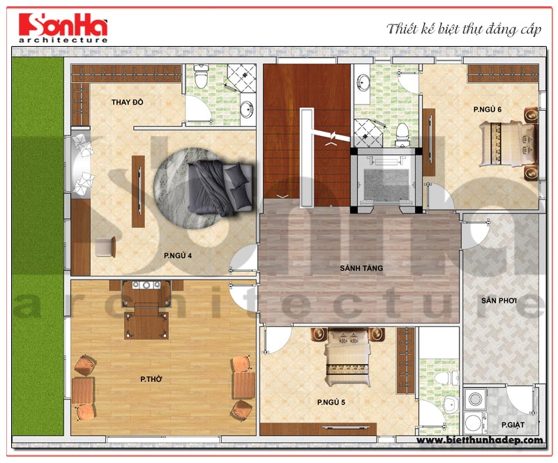 Bản vẽ chi tiết mặt bằng công năng tầng 5 biệt thự hiện đại 5 tầng tại Thái Bình