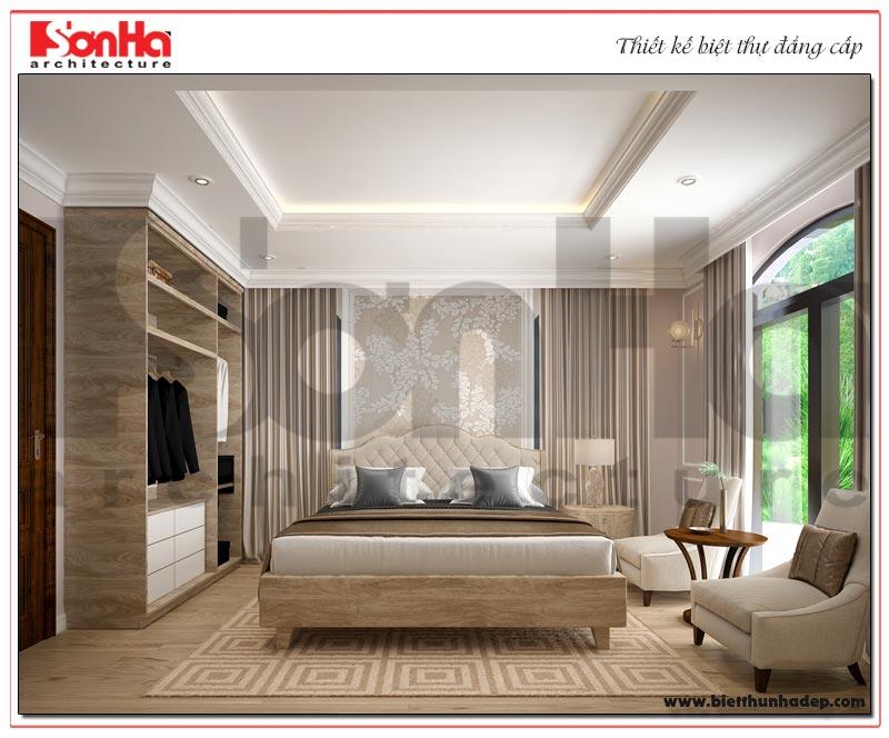 Không gian phòng ngủ biệt thự tân cổ điển với thiết kế tiện nghi đảm bảo tính riêng tư