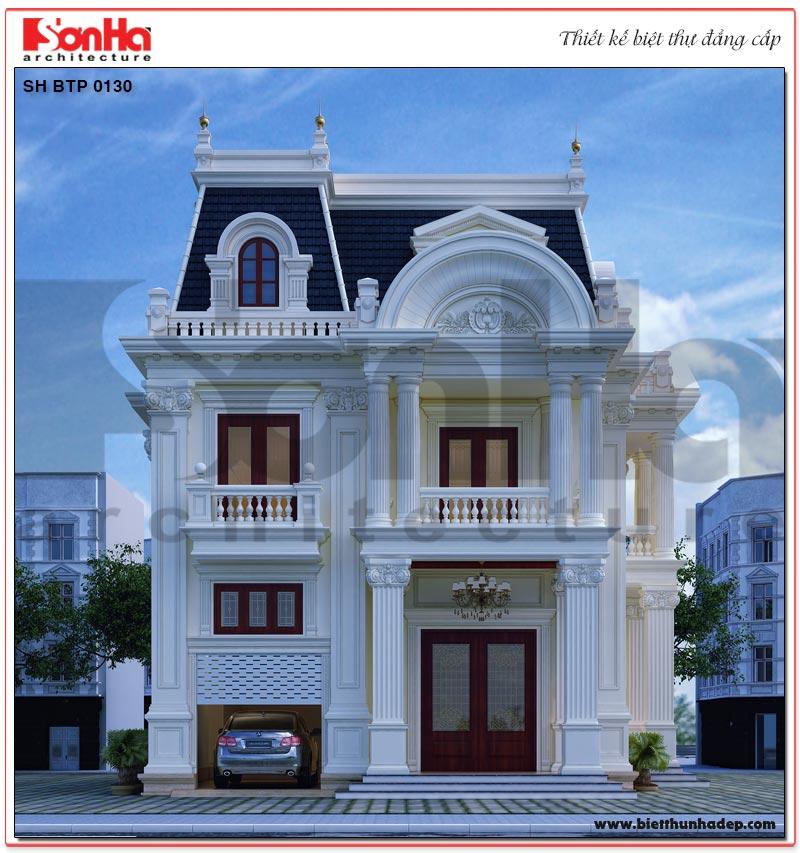 Phối cảnh tổng thể ngoại thất ngôi biệt thự tân cổ điển 3 tầng 2 mặt tiền tại Sài Gòn